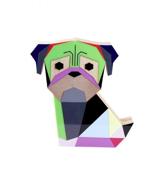 cachorro madeira acrilico pug geometrico patricia maranhão