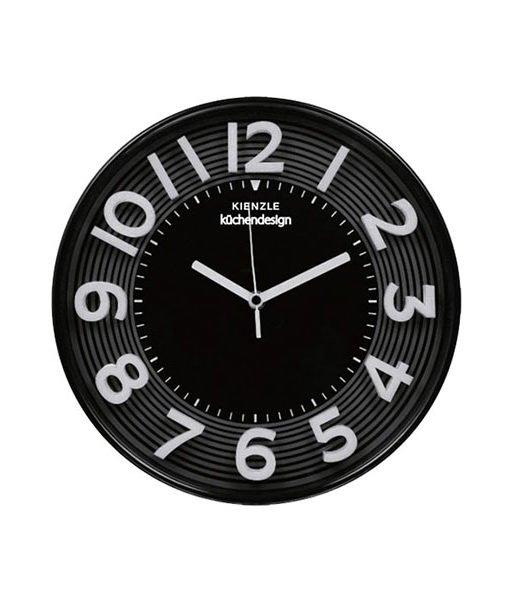 Relógio de Parede preto com números em relevo brancos
