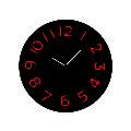 Relógio decorativo Preto com números em relevo vermelhos para parede