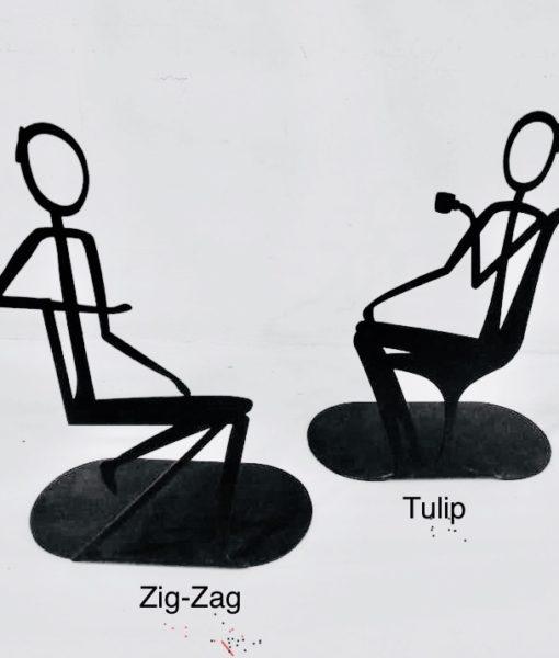 Cadeiras de design miniaturas Zig Zag e Tulip