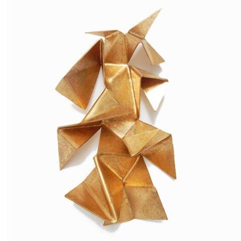 Escultura de parede Dourada Origami