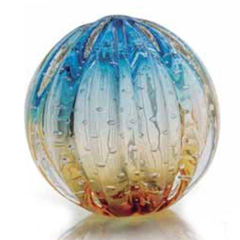 Esfera decorativa de Murano Azul com Âmbar