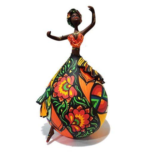 Dançarina Colorida de cabaça com Cristais Bapi